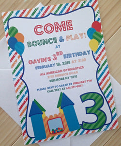 Bounce House Invitation, Birthday Party Invitations, Childs Party Invitation, Themed Party Invitations