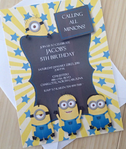 Minion Invitation, Birthday Party Invitations, Childs Party Invitation, Themed Party Invitations