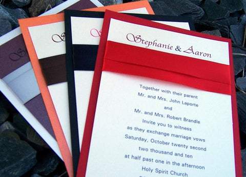 Classic wedding invitation, red, black, purple, orange, silver, invitation, elegant wedding invitation