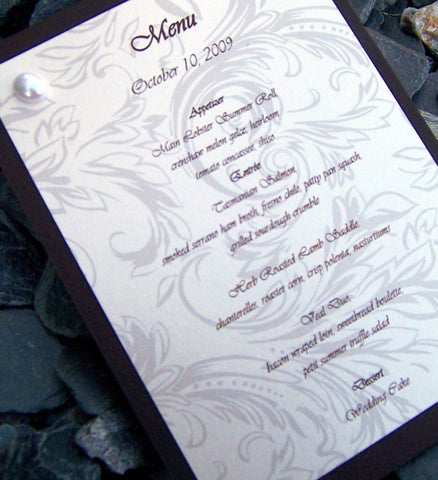Pearl wedding menu, flourish wedding menu, elegant wedding menu, off white, ivory, gold, brown wedding menu