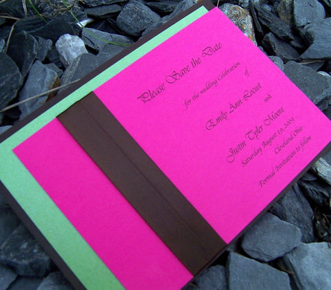 Modern save the date, Pink, green, brown save the date