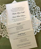 Amazing Banded Glitter Laser Cut Invitation