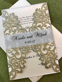 Gold Glitter Lasercut Invitation, DIY Wedding Invitation, Laser Cut DIY Invitations, Elegant Wedding Invitation