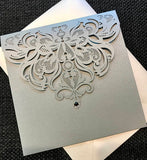 Laser Cut Pocket Invitation,  DIY Wedding Invitation, Pocket fold wedding Invitation, Silver Shimmer Wedding Invitation