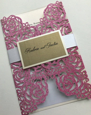 Glitter Laser Cut Invitation