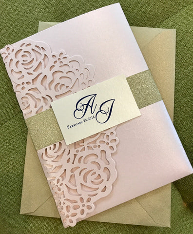 Blush Gold Glitter Lasercut invitation, Pocket fold laser cut invitation, DIY Wedding Invitation, Pocket fold wedding Invitation