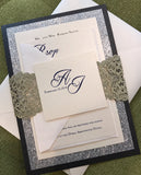 Silver Gold Glitter wedding invitation, lasercut wedding invitation, lace invitation
