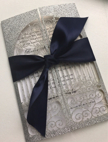 Window Glitter Laser Cut Invitation
