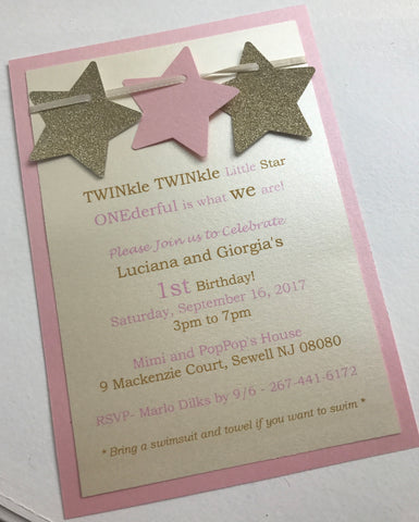Twinkle Twinkle Little Star Invitation, Pink and Gold Glitter Invitation