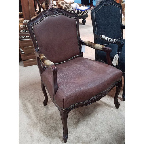 Carved Victorian Chair- Elephant (Tabac) - Trophy Room Collection