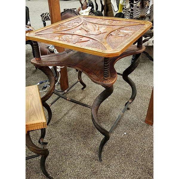 Double Decker Carved Pub Table with Kudu legs - Trophy Room Collection
