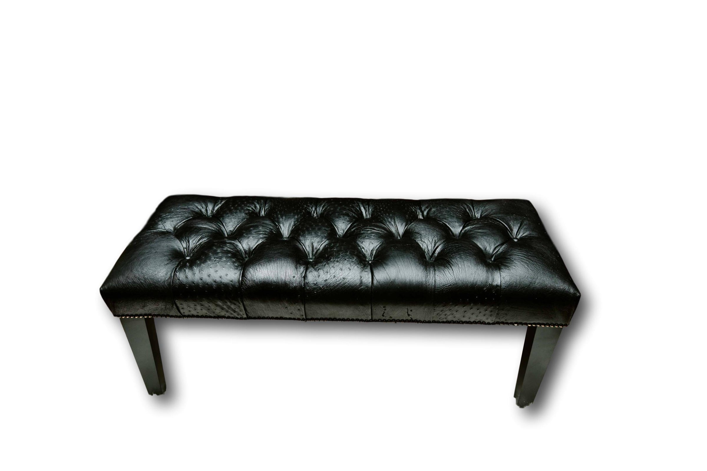 Enjoyable Bench Black Ostrich Leather With Wood Tapered Leg Andrewgaddart Wooden Chair Designs For Living Room Andrewgaddartcom