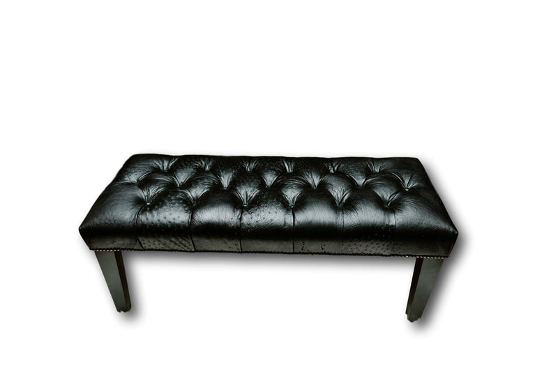 Bench - Black Ostrich Leather with Wood Tapered Leg - Trophy Room Collection