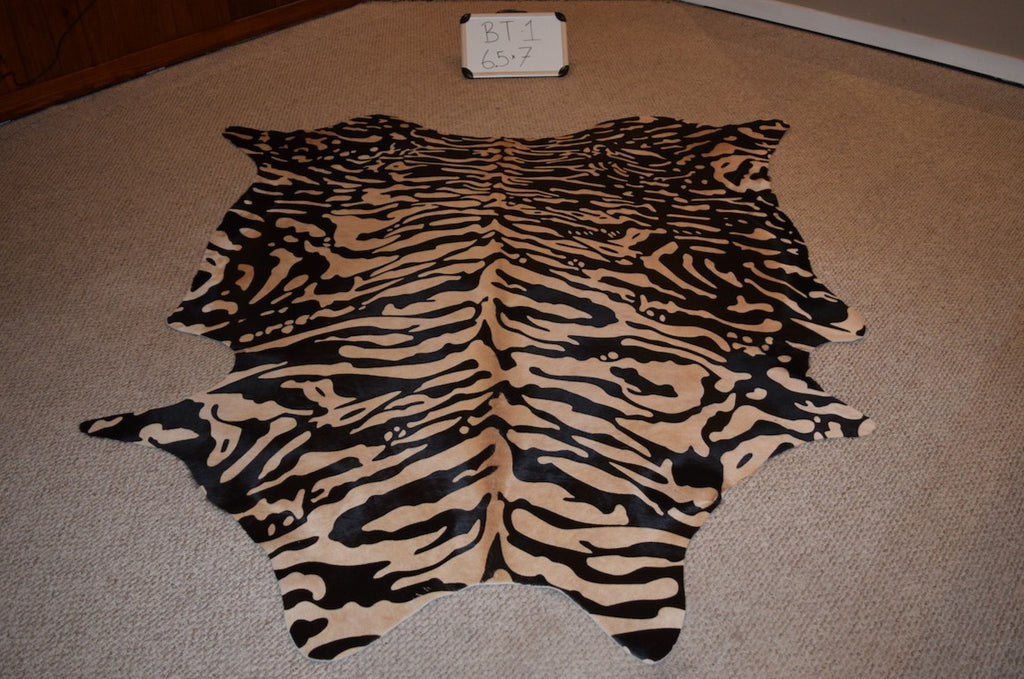 Stenciled Cowhide Tiger Print