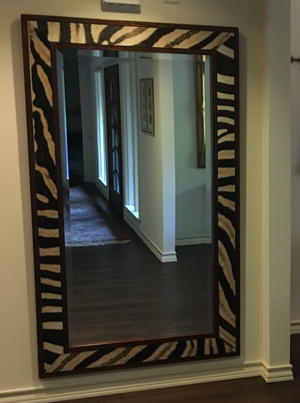 Zebra Floor Mirror with Zebra Skin Hide