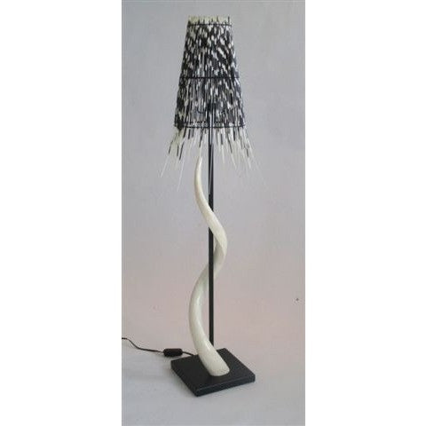 Black Base Kudu Inner Horn Lamp & Quill Shade - Trophy Room Collection