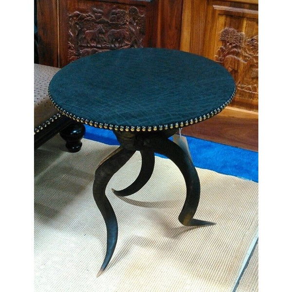 Kudu horn Table- Black Elephant leather - Trophy Room Collection