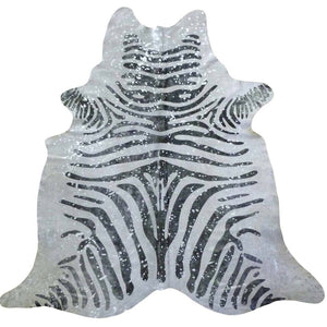 Silver Metallic Zebra Cowhide - Trophy Room Collection