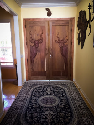 Hand Carved KUDU Doors - Trophy Room Collection