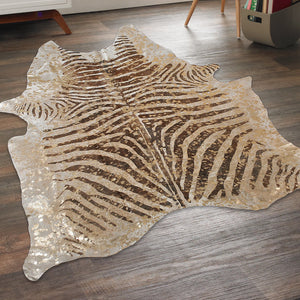 Gold Metallic Zebra Stencil Cowhide (Brown) - Trophy Room Collection