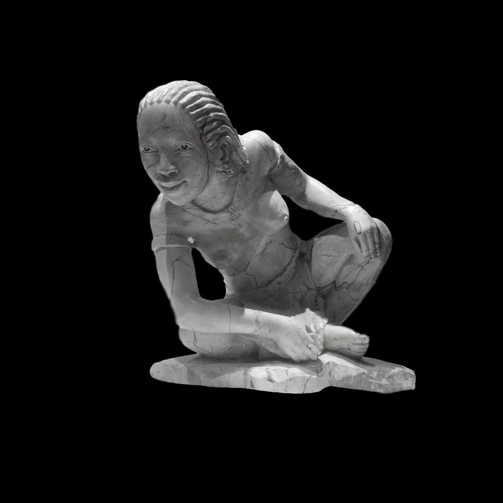 STONE CARVING - Butter Jade Shona Woman - Trophy Room Collection