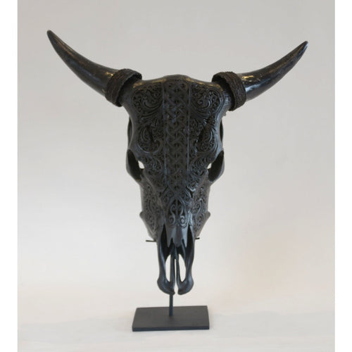 Carved Water Buffalo Scull- Black - Trophy Room Collection