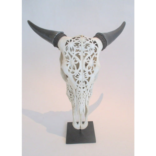 Carved Water Buffalo scull- White - Trophy Room Collection
