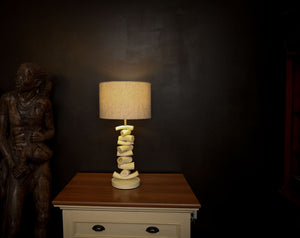 CLOSEOUT : Kudu Inner Horn Upright Piece Lamp &  linen Shade - Trophy Room Collection