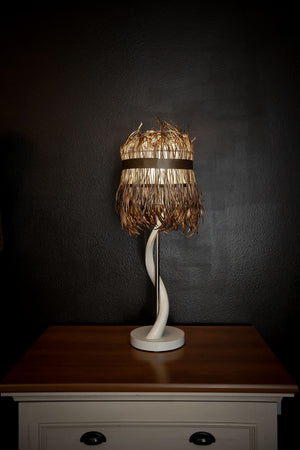 CLOSEOUT : Kudu Inner Horn Table lamp & gold splitgoose shade - Trophy Room Collection