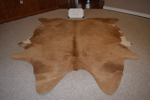 Solid Caramel Natural Cowhide