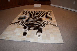 Zebra Stenciled Patchwork on Cowhide