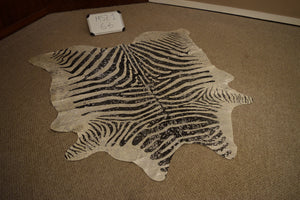 Metallic Silver on Black Stripe Zebra Cowhide