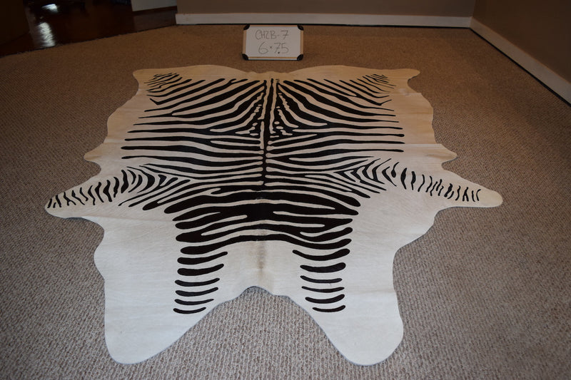 Black stripe Zebra Stencil on Cowhide