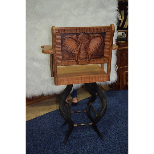 Kudu horn bar stool- With Kiaat Wood - Trophy Room Collection