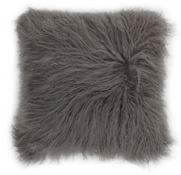 "Gray Tibetan Lamb - SINGLE Sided Pillow (22"") - Trophy Room Collection"