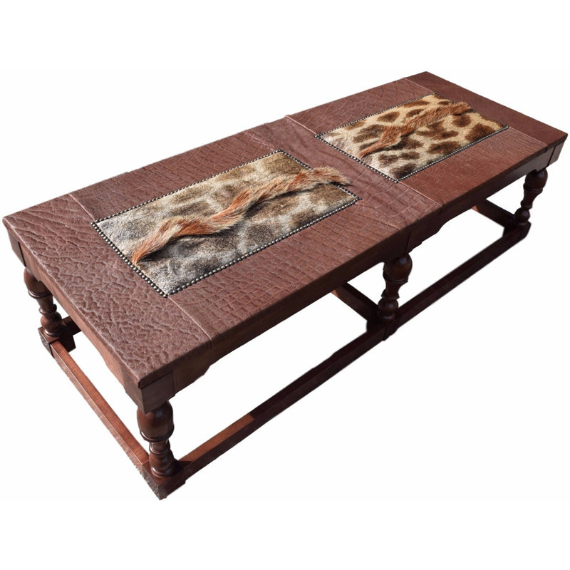 "CUSTOMERS OWN MATERIAL -  Elephant Table With Giraffe inlay 66"" x 24"" - Trophy Room Collection"