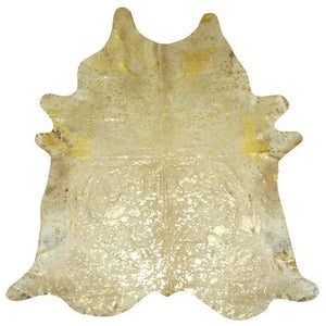 Gold on Beige Metallic Cowhide - Trophy Room Collection