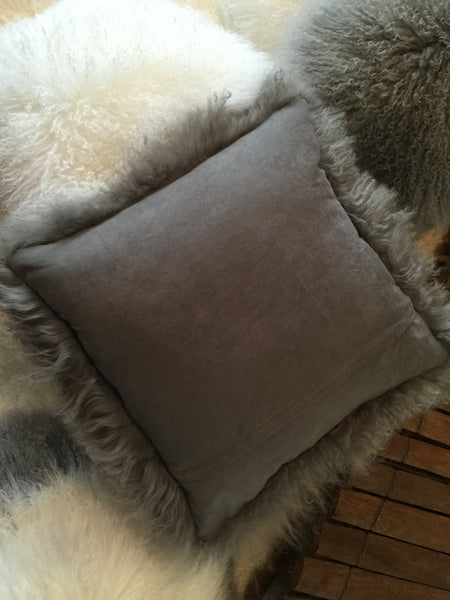 "Gray Tibetan Lamb 18"" Single Sided Pillow"
