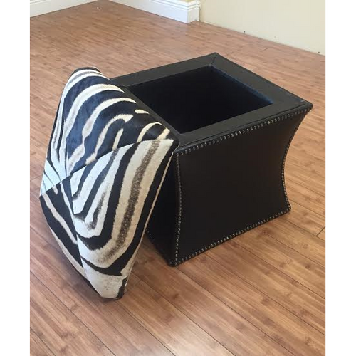 Zebra Storage Ottoman - Trophy Room Collection