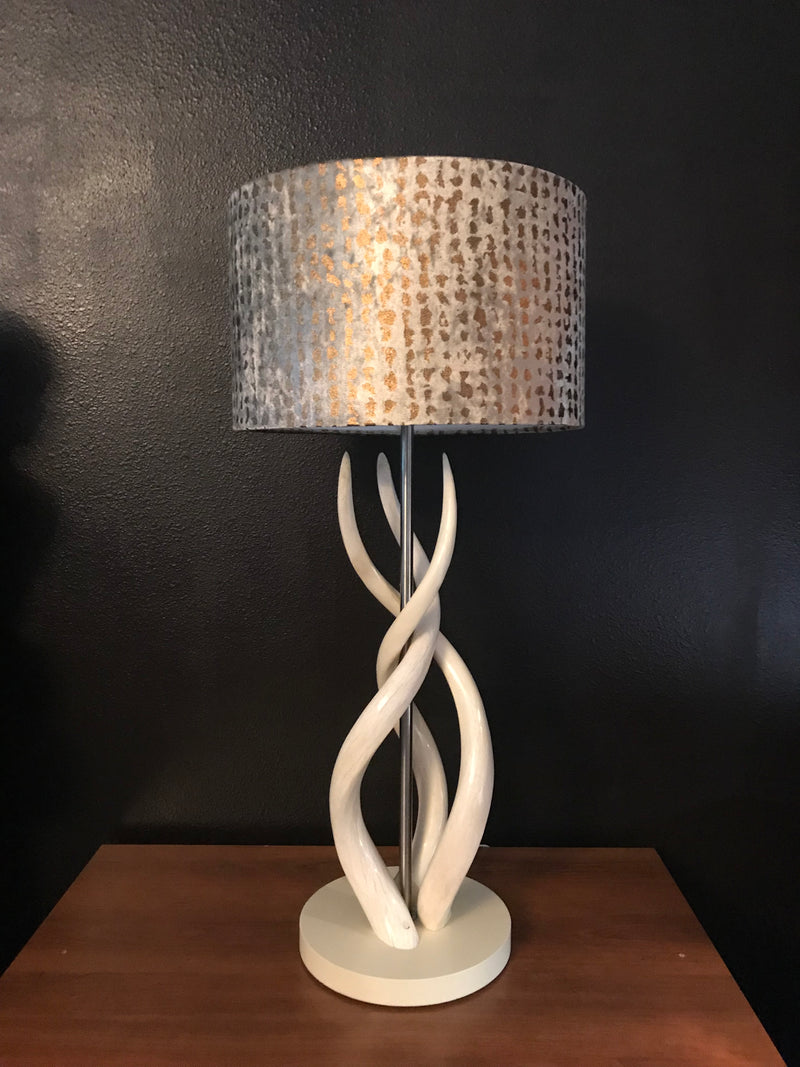 CLOSEOUT : Tripple Kudu Upright Twist lamp & gold Leopard Shade (2) - Trophy Room Collection