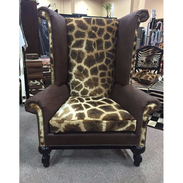Kings Chair- Giraffe and Brown Elephant - Trophy Room Collection