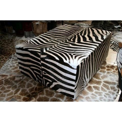 King Ottoman- Genuine Zebra XXL Oversize - Trophy Room Collection  - 1