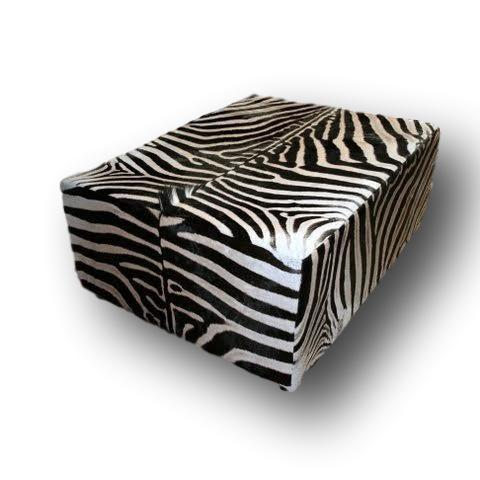 OTTOMAN (King) - Genuine Zebra XXL Oversize - Trophy Room Collection