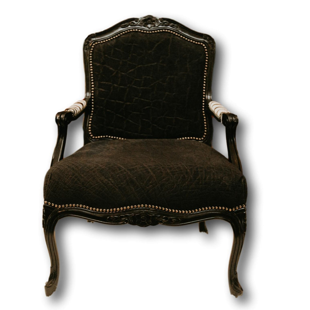 Carved Victorian Chair - Black Elephant - Trophy Room Collection
