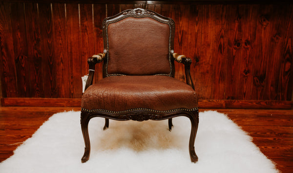 Carved Victorian Chair- Elephant (Tabac) - SHOW SAMPLE - Trophy Room Collection