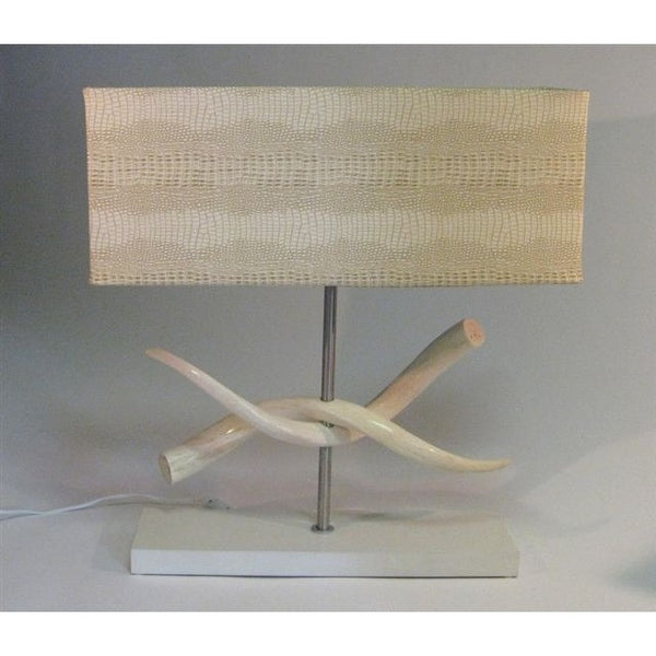 Kudu Inner Horn Twist Lamp & Croc Imitation Shade - Trophy Room Collection