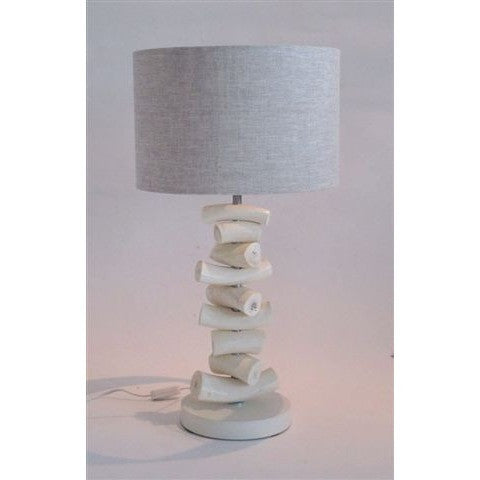 Kudu Inner Horn Upright Piece Lamp & Natural Two-tone linen Shade - Trophy Room Collection