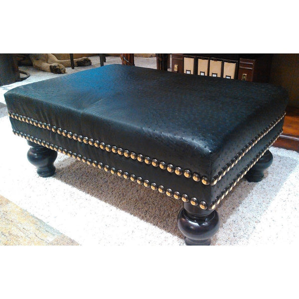 Ostrich Leather Ottoman - Trophy Room Collection