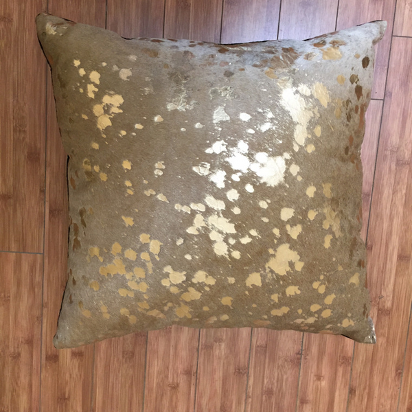Metallic Gold on Palomino Beige Cowhide w/ Black Backing - Trophy Room Collection