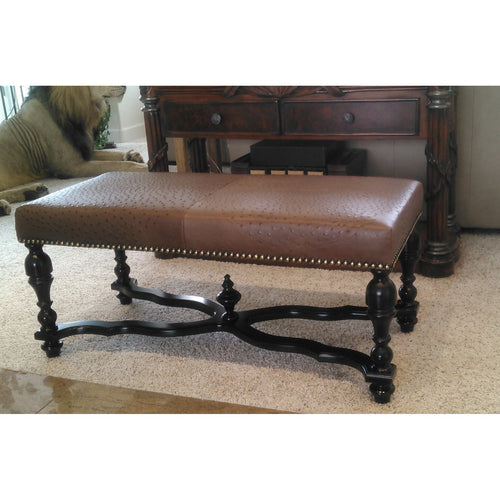 Bench Upholstered In Ostrich Leather - Trophy Room Collection